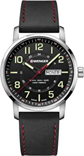 Men's Sport Stainless Steel Swiss-Quartz Watch with Leather Strap, Black, 22 (Model: 01.1541.101)