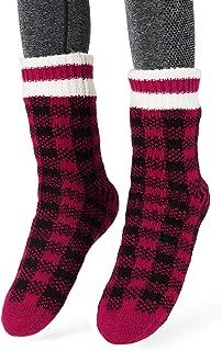 Calcetines Antideslizante Hombres Tejer Doble Lana Calcetines de Casa Invierno Regalo de Navidad