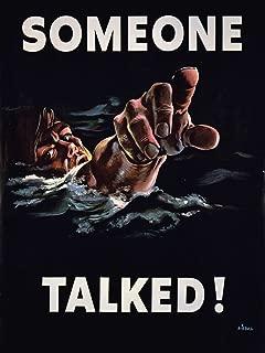 Art Propaganda WWII War Someone Talked Sailor USA Poster Print