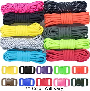 West Coast Paracord Zesty 550lb Survival Paracord Random Combo Crafting Kit 10 Colors of 500lb Cord and 10 Buckles - Type III Paracord - Make 10 Paracord Bracelets - Great Gift