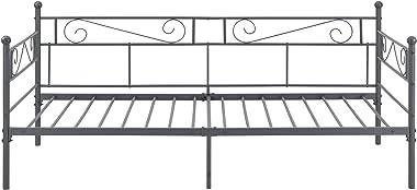 Cadre de Lit Robuste Métallique Kerava avec Lattes en Métal et Matelas à Mousse à Froid Construction Solide Capacité de Charg
