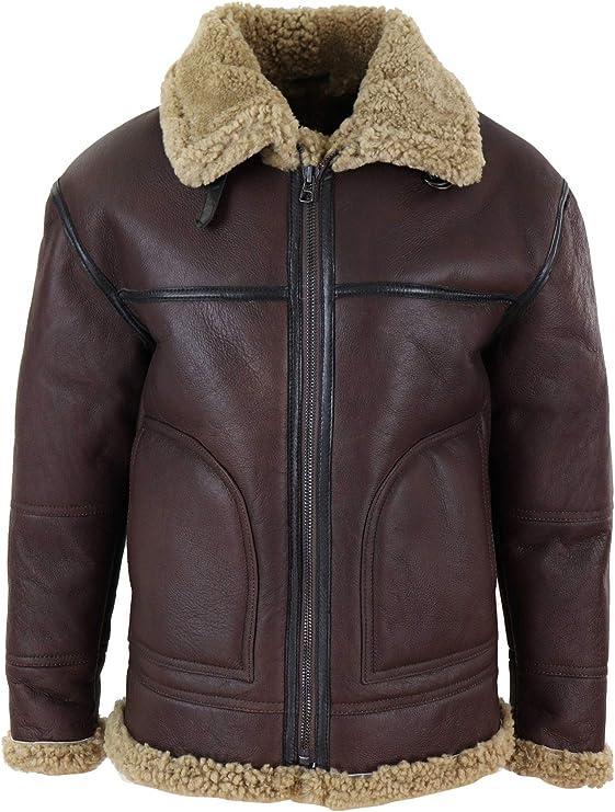 Men's Vintage Jackets & Coats TruClothing.com Mens Aviator Real Shearling Sheepskin Leather Bomber Flying Jacket BNWT  AT vintagedancer.com