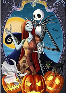 Diamond Painting Kits for Adults, BENBO 15.8x11.8In Jack Skellington Halloween Full Drill 5D DIY Diamond Painting by Numbers Cross Stitch Crystal Rhinestone Embroidery Arts Craft