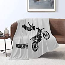 Luoiaax Dirt Bike Rugged or Durable Camping Blanket Weathered Effect Biker Silhouette and Motocross Racing Moves Theme Warm and Washable W57 x L74 Inch Black and Coconut