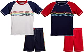 iXtreme Boys' Swimwear 4-Piece Set with Rash Guard UPF 50+ T-Shirts and Swimsuit Trunks