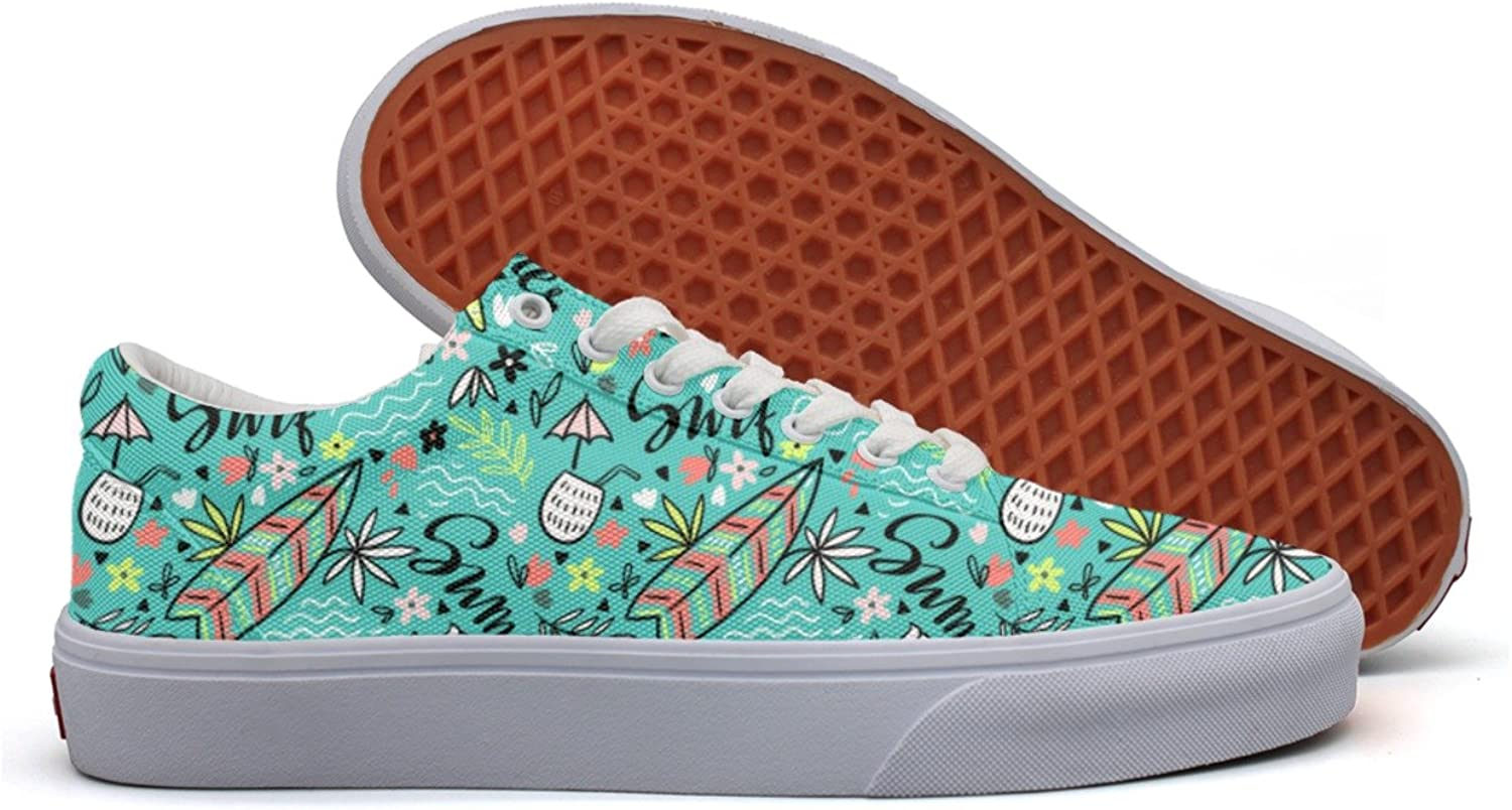 Tropical Bright Surfboard Womens Fashion Sneakers shoes Low Top Lightweight Basketball shoes For Women's