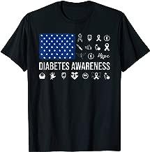 American Flag Hope Ribbon Butterfly T1D Diabetes Awareness T-Shirt