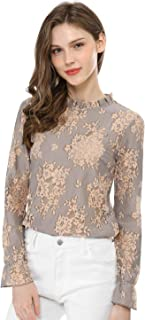 Women's Crochet Lace See Through Floral Ruffle Neck Blouse