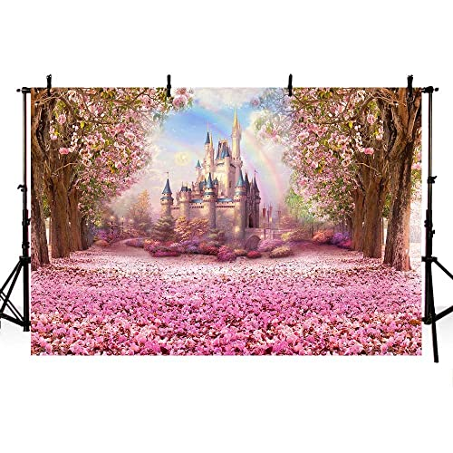 COMOPHOTO Castle Fairy Tale Backdrops for Photography Baby Birthday Party  Photo Backdrops Kid Pink Flower Background b5047e3b0