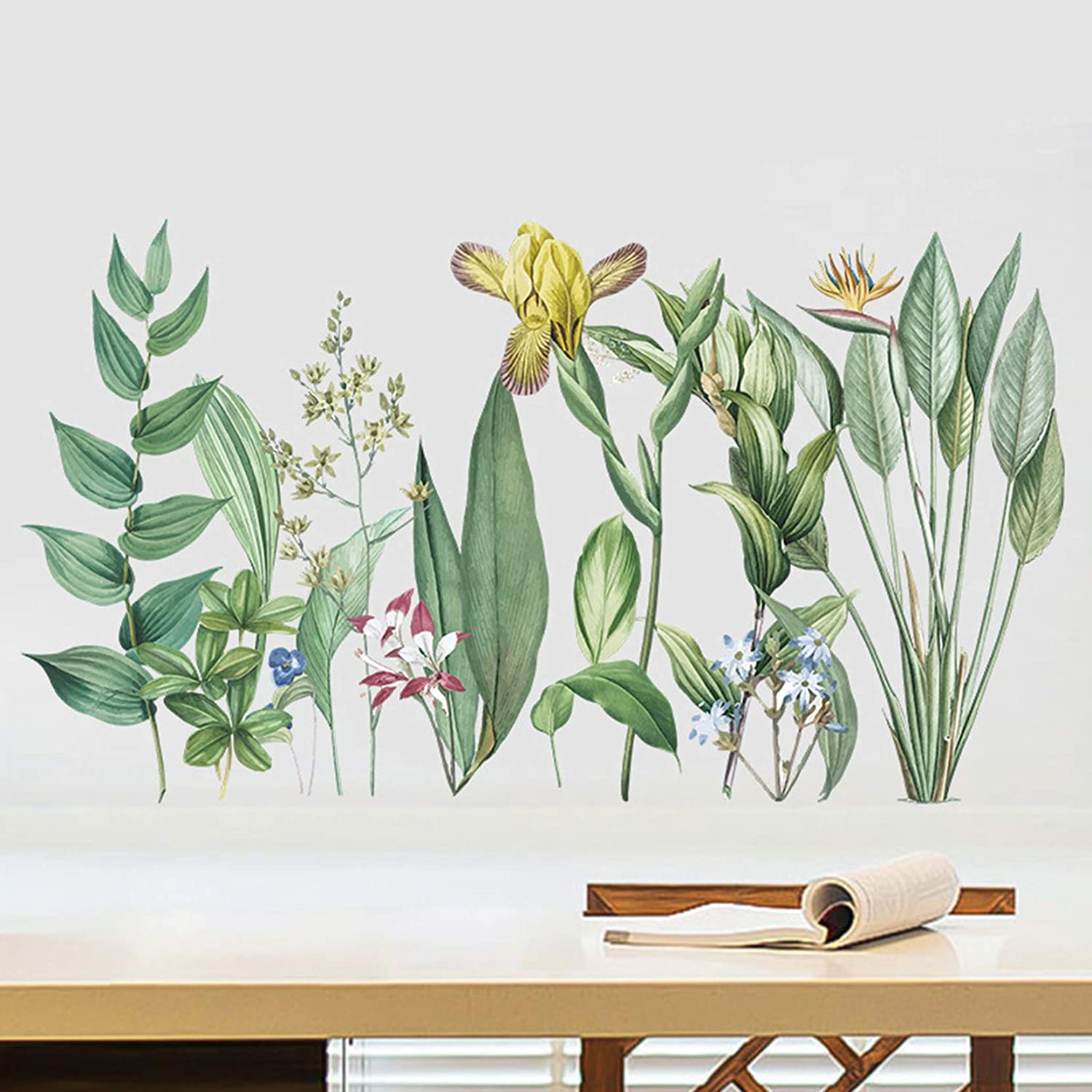 MOLANCIA Green Plants Potted Wall Stickers, Nature Tropical Leaf Wall Decals, Removable Green Plants Wallpaper, Monstera Palms Tree Leaf Vinyl Wall Art Mural Decor for Kitchen Living Room Bedroom