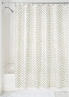 "InterDesign Sketched Chevron Fabric Shower Curtain - 72"" x 72"", Gold"
