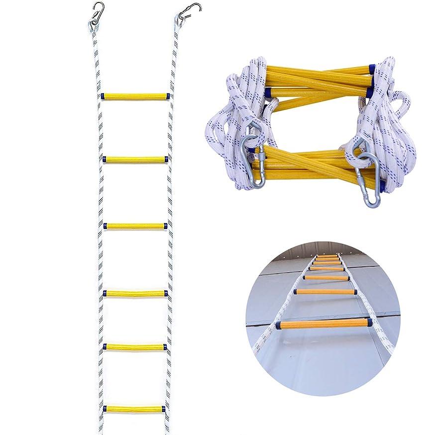 ピストル美しいライン緊急消火用梯子、フック付きポータブル滑り止め難燃性安全ロープ梯子、空中作業用、火災救助、屋外登山用,5m/16ft