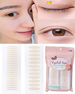 240Pairs(120Pairs Slim+120 Pairs Wide) Lace Style Natural Invisible Single Sided Double Eyelid Tape Self-Adhesive Eyelid Stickers Instant Eye Lift Strips With Y Fork for Hooded Mono-eyelid(Skin Color)