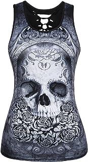 Mxssi Donna Summer Summer Casual Casual Skulls Stampato Rock Punk Vest Tee Top Tshirt