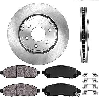 CRK13598 FRONT 296 mm Premium OE 6 Lug [2] Brake Disc Rotors + [4] Ceramic Brake Pads + Clips