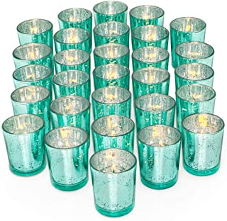 Letine Glass Votive Candle Holders Set of 36 - Speckled Mercury Aquamarine Candle Holder Bulk - Ideal for Wedding Centerpieces & Home Decor