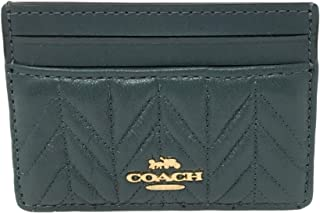 Coach Quilted Card Case in Refined Leather Evergreen F73000