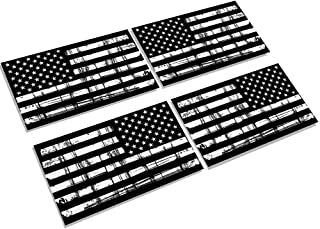 Creatrill Reflective Tattered Subdued American Flags Decal Matte Black – 2 Pairs 3x5 in. Tactical Military USA Flag Stickers for Cars and Trucks, Hard Hat or Lunch Box
