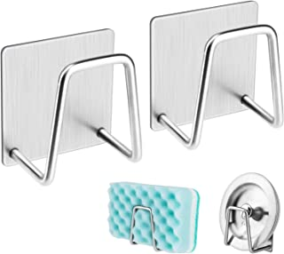 NEXCURIO Adhesive Sponge Holder Sink Caddy for Kitchen Accessories - SUS304 Stainless Steel Rust Proof Waterproof, Quick D...