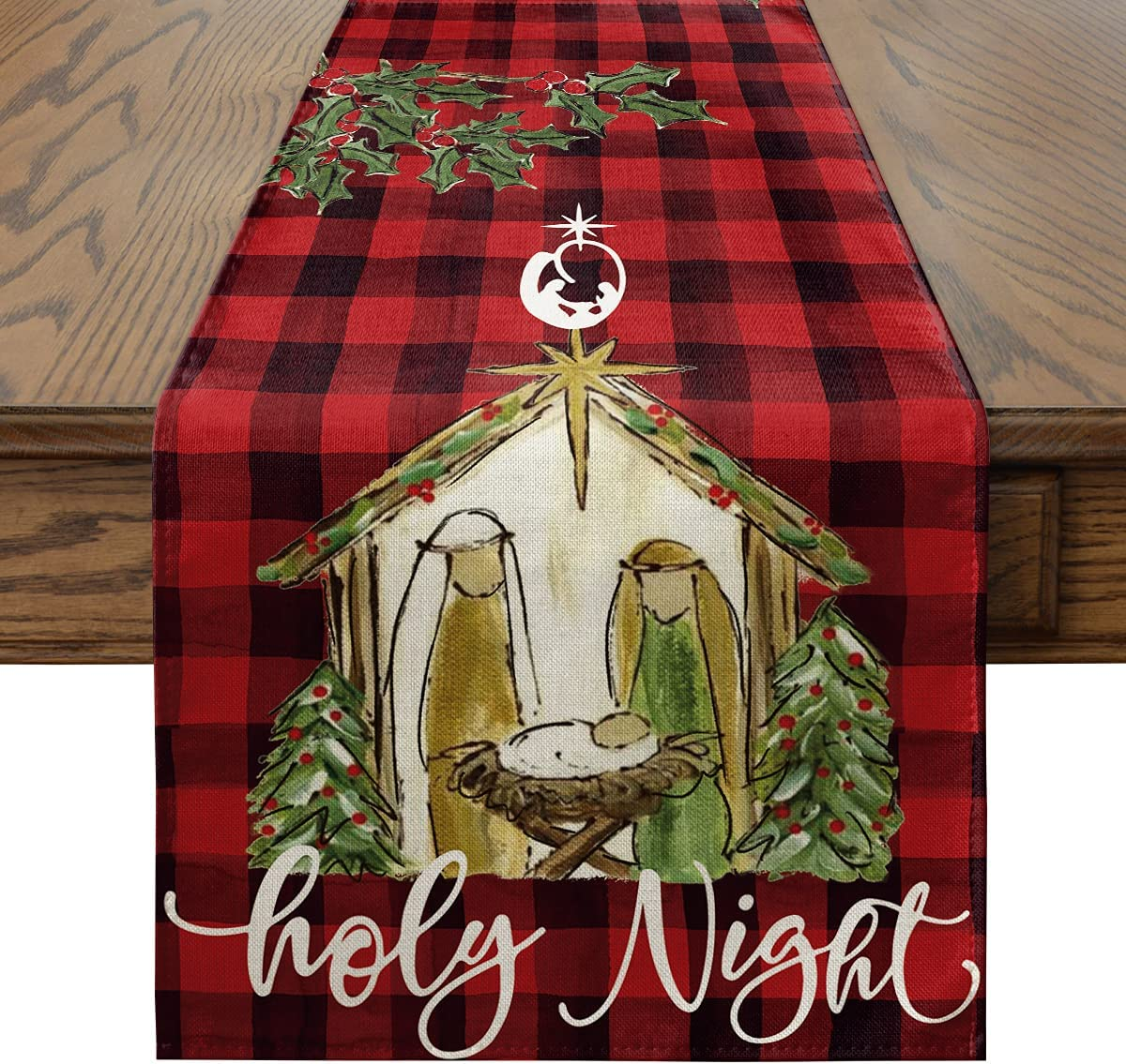 Artoid Mode Holy Night Watercolor Red and Black Buffalo Plaid Christmas Table Runner, Log Cabin Christian Holiday Kitchen Dining Table Decoration for Indoor Outdoor Home Party Decor 13 x 72 Inch