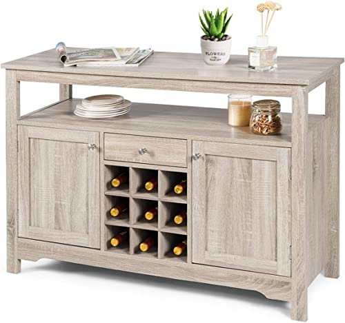 new arrival Giantex Buffet Server Sideboard, Console Table, high quality Wood Dining Table, Cupboard Table with 2 Cabinets, 1 lowest Drawer and 9 Wine Cabinets, Storage Organizer Kitchen and Dining Room (Gray) sale
