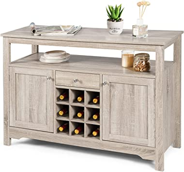 Giantex Buffet Server Sideboard, Console Table, Wood Dining Table, Cupboard Table with 2 Cabinets, 1 Drawer and 9 Wine Cabine