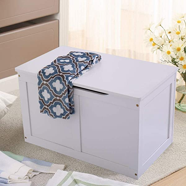 Wooden Toy Box Storage Chest Kids Bench Organizer Furniture White Bin Playroom