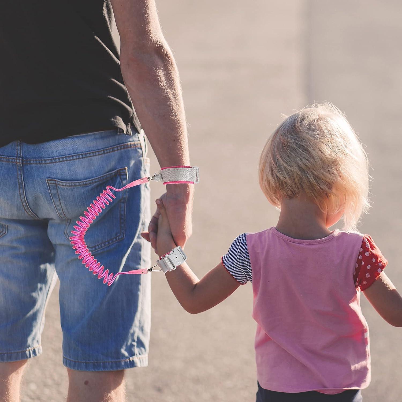 Penguin Toddler Kids Leash Backpack with Anti Lost Wrist Leash Link Wristlets (Penguin Pink)