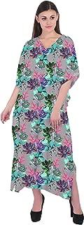 RADANYA Womens Dresses Cotton Beach Kaftan 3/4 Sleeve Floral Print Summer Maxi Long Caftan Dress