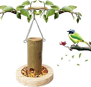 Parrot Feeder Bird Bamboo Food Box With Wooden Base Food Cup Bird Feeder Pet Supplies