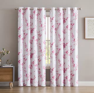 HLC.ME Jasmine Floral Faux Silk 100% Blackout Room Darkening Thermal Insulated Curtain Grommet Panels For Bedroom - Energy Efficient, Complete Darkness, Noise Reducing - Set of 2 (Pink, 52