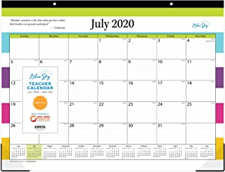 """Blue Sky 2020-2021 Academic Year Teachers Monthly Desk Pad Calendar, Trim Tape Binding, Two-Hole Punched, Ruled Blocks, 22"""" x 17"""", Stripes"""