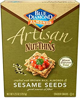 Blue Diamond Almond Artisan Nut Thins Cracker Crisps, Sesame Seeds, 4.25 Ounce