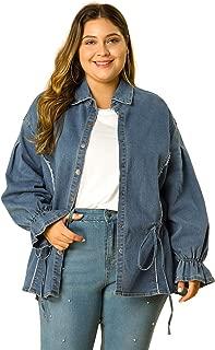 Agnes Orinda Women's Plus Size Button Up Casual Puff Sleeve Drawstring Chambray Denim Jacket