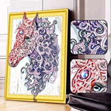 5D DIY Special Shaped Diamond Painting Kit, 15.7X 11.8 Inch Crystal Rhinestone Diamond Embroidery Paintings Pictures Arts Craft for Home Wall Decor (Horse)