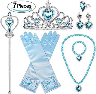 مجموعة هدايا اكسسوارات فستان الأميرة من بونالو لإلسا ولي العهد، أقراط، قفازات، أزرق، 5 قطع
