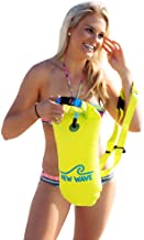 New Wave Swim Buoy - Swim Safety Float and Drybag for Open Water Swimmers Triathletes Kayakers Snorkelers, Open Water Swim Buoy Float for Safer Swim Training (PVC 15 Liter Yellow)