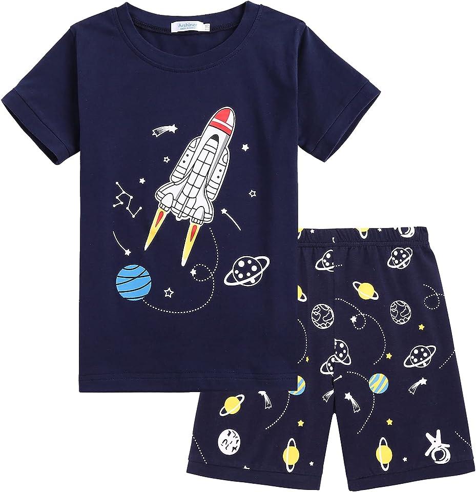 Jungen Kurzer Schlafanzug Kinder Pyjama Kurzarm Nachtwäsche Zweiteilig Shorty Bekleidungsset Baumwolle Sommer