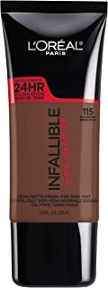 L'Oreal Paris Makeup Infallible Pro-Matte Liquid Longwear Foundation, Rich Ebony 115, 1 fl. oz.