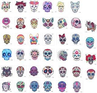 Beaupretty Tijdelijke tatoeages, 40 stuks, met dode suikerschedel, waterdichte tatoeages, voor Halloween, party, gunst ges...