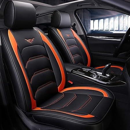 Dapeng Auto Sitzbezüge Set Vorn Und Hinten 5 Polstersitze Kompletter Satz Universal Leder Sitzbezüge Für Vier Jahreszeitee Color Orange Auto