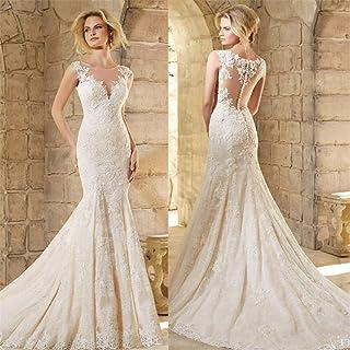 Wedding Dress Gown Jewel Lace Satin Lace A Line Applique V-Neck V Back Lace Jewel Applique Sexy Chapel Bride Bridal Beach Evening Dress 6