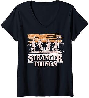 Femme Netflix Stranger Things Night Silhouettes T-Shirt avec Col en V