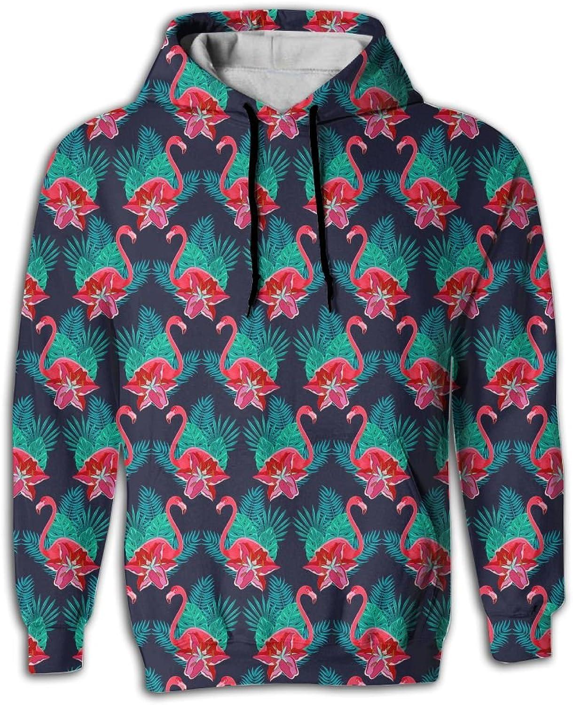 Wkylt Flamingo Lilies colorful Print Big Pockets Suit Sweat Shirts for Men