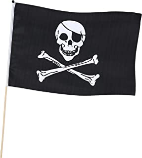 Boland 74163–Bandera pirata 45x 30cm con barra, negro/blanco