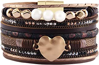 AZORA Leather Cuff Bracelet Multi Rope Wrap Bangle with...