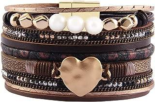 Jenia Women Leather Cuff Bracelet Multi Strand Wrap Around Bracelets Charm Heart Boho Bangle Handmade Jewelry for Girls, Mother, Wife, Ladies, Lover Gift
