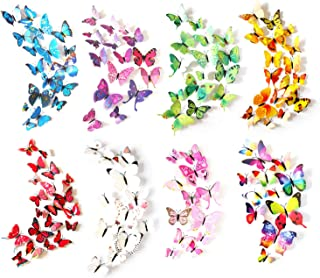 Tosnail 96Pieces Plastic Butterfly Wall Stickers 3D Wall Stickers for Indoor Outdoor Wall Decoration