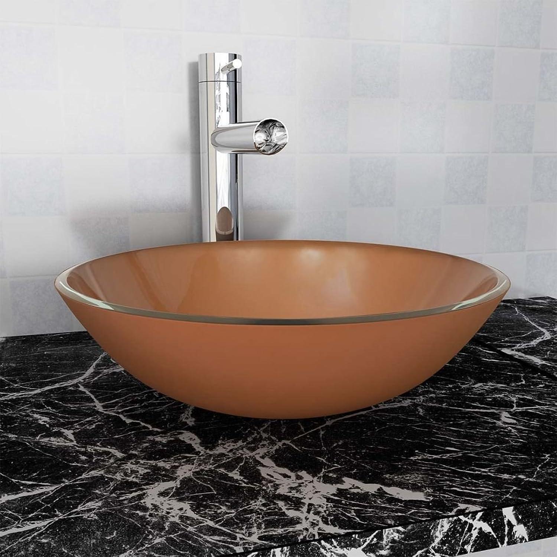 SENLUOWX Basin Tempered Glass 42?cm brown