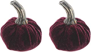The Bridge Collection Velvet Plush Purple Pumpkin Figurines, Set of 2